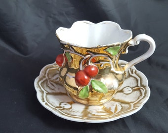 Highly Gilt Antique Red Cherries Cup & Saucer