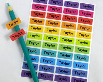 Name Labels Stickers  For Kids Waterproof Personalized School Daycare Camp Rainbow Labels, name tags kids,vinyl name stickers, SMALL