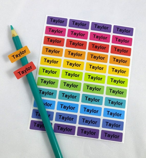 Name labels stickers for kids waterproof personalized school