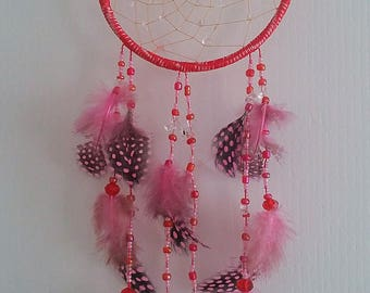Mountain crystals, dream catchers, wall decoration, glass beads, Guinea fowl feathers