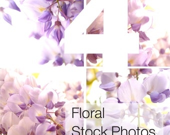 4 Floral Stock Photos, Flower Stock Photography, for Wedding invitation, Scrapbooking, Shower party photos, High Res #B006HR