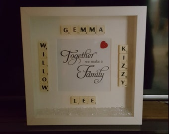 Personalised Scrabble Family Box/Frame Keepsake/Memory Frame
