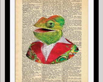 Colorful CHAMELEON / Dictionary Art Print
