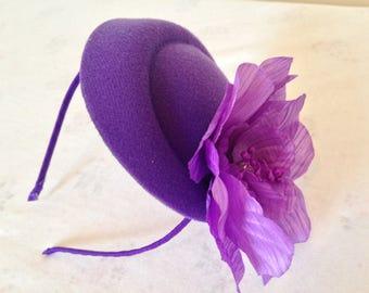 Oval Felt, Pillbox Purple beret  Fascinator, Headband fascinator, ladies day hat, wedding fascinator, race day hat, formal hats,