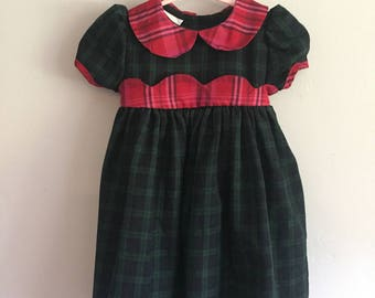 Vintage 1980s JoLene Christmas/Holiday Dress with Contrasting Plaids Infant Girls 18 Months