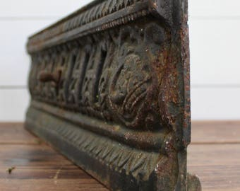 Antique cast iron vent, Fireplace damper, cast iron ornate grate