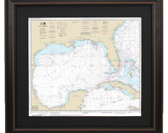 Framed Nautical Map - Gulf of Mexico; NOAA411