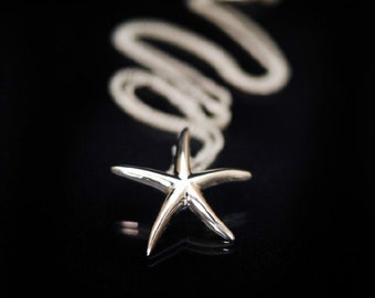 Silver starfish necklace, starfish necklace, Silver pendant, silver necklace, sterling silver, starfish, starfish necklace