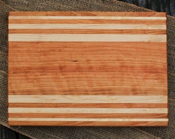 Handmade wood cutting board - cherry & maple striped serving board cheese plate custom size kitchen gift wedding gift for cook woodworking