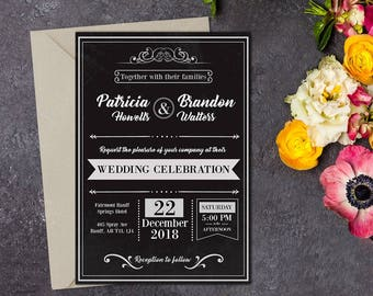 Printed Rustic Wedding Invitation, Rustic Wedding Invitation, Vintage Wedding, Black Invitation, Printable Wedding, Wedding invitation