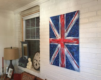 1801 Union Jack Flag, Acrylic on Canvas, Flag Painting by Alan C Drummond