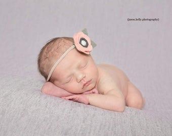 Blush Felt Flower Headband, Newborn Photo Headband, Felt Flower Clip