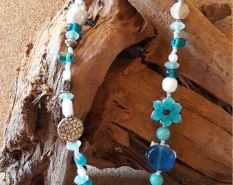 Blue Flower Glass Bead Necklace