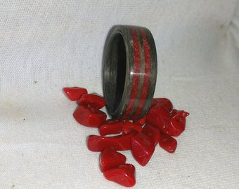 Bands Gray Oak and Ruby Red Stone bent wood ring, Wood Rings, Fashion Jewelry, Natural Jewelry, Wedding Band, Red Ring