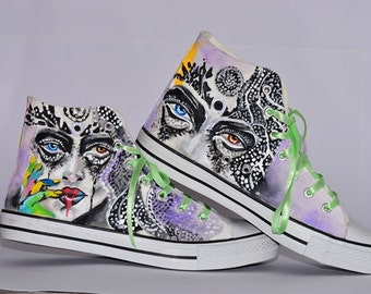 Hand Painted Sneakers For Women/Hand-Painted Sneakers/ Handmade Shoes/Footwear/Comfortable Casual Sneakers/Customized Sneakers