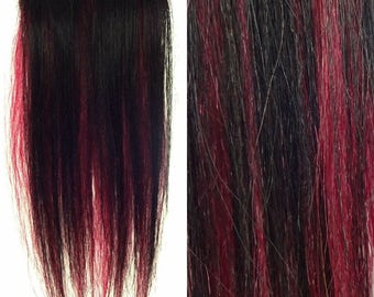 """Set of TWO 8"""" Clip-In Human Hair Streaks, Black and Burgundy Two Tone"""
