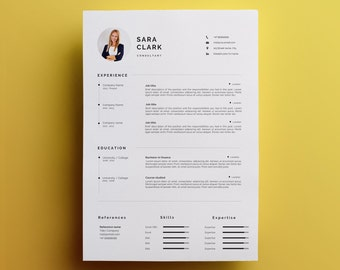 Modern Resume Template U0026 Cover Letter + Icon Set For Microsoft Word | One  Page Resume  One Page Resume Template