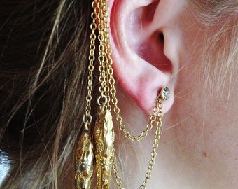 Handmade ear cuff with gold-colored pendants