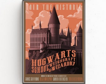 Thur The Historic Hogwarts school of witghcraft and wizardry Harry Potter traveling retro wallpaper decoration photo poster