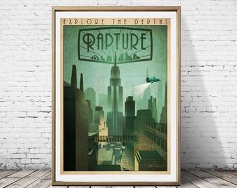 Bioshock Explore The Depths Rapture Minimal Big Daddy Minimalist Gaming Artwork Travel Traveling Print Poster