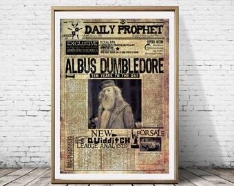 Daily Prophet Wizarding Newspaper Harry Potter Albus Dumledore  Ministry of Magic Hogwarts Poster Print Art Deco