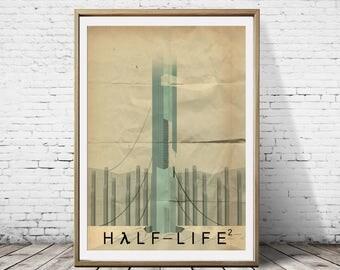 Half Life 2 The Citadel Minimalist Artwork Alternative Gaming Game Print Poster Art Deco