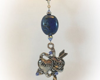 Long necklace with heart and Blue Pearl charm