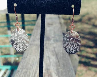 Etched Oval Abalone Earrings