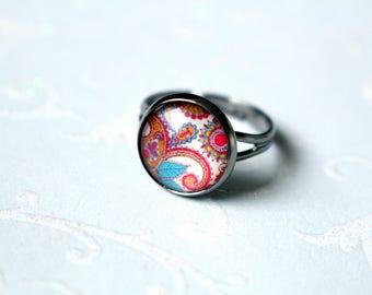 Adjustable cabochon ring 12 mm mandala pink blue