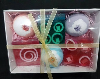 Bath bomb and soaps gift set by Bathing Blissfully