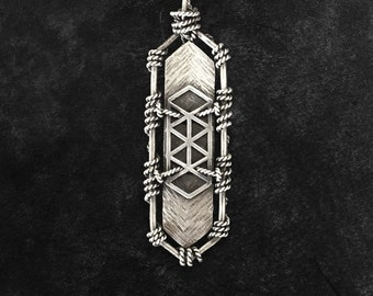 CANGGU // Sterling Silver Geometric Necklace //  Hand Hammered + Sewn Metal