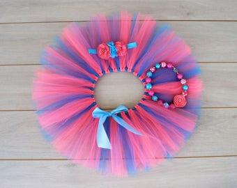 Pink And Blue 3 Piece Cake Smash Outfit - Tutu, Headband & Bubblegum Necklace