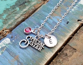 Special Sister Necklace, Gift for Sister, Sister Gift, Sister Jewelry, Thank You Gift, Initial Necklace, Sister Birthday Gift, Sister in Law