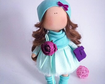 Interior doll/ textile doll/ fabric doll/ tilda/ handmade doll/ pink/ blue/ white