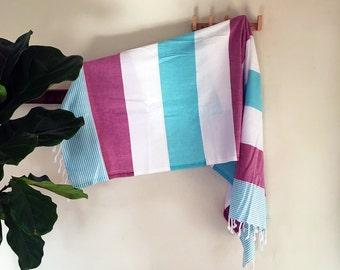 Akila | Blue Pink White | Turkish towel