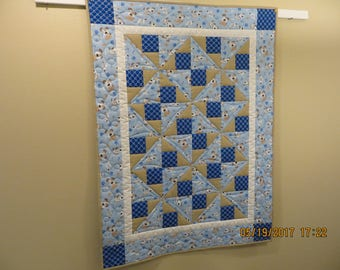 PLAYFUL PUPPIES Baby Quilt/Toddler/Wallhanging/Custom Free Motion Quilting/Precision Piecing