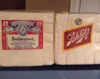 VIntage Paper Beer Napkins, Schlitz & Budweiser
