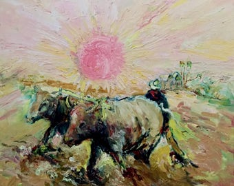 Indian landscape painting-sawa teams with Buffalo-Vincent van Gogh the sower style-oil paintings-Dim. 57 x 67 cm