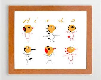 28-#Bird#Birds#Decor#Home, #Artroom, #Kids, #Children, #Animal, #Illustration, #Art#print, #Europeanstreetteam