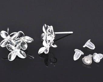 10 earrings ear studs, eye, flower, flower, clover, silver plated, 11411