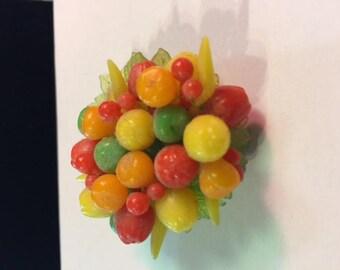 Plastic fruit pin 1950's