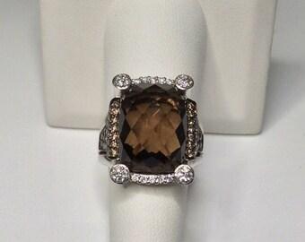 Estate 14K White Gold 12.05 CTW Smokey Topaz & Diamond Ring 10.5 Grams Size 7.5