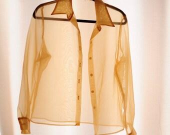 Vintage Gold Shimmer Button Up