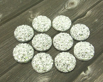10pcs Acrylic Buttons Sparkly Shimmery Rhinestone Flat Back Buttons for Wedding Hair Clip Pin Flower Center Piece Embellishment
