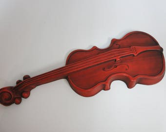 Vintage Violin Decor, Vintage Cast Aluminum Burnt Orange Violin, Made by Royal Company - V132