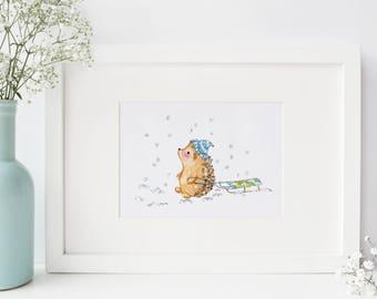 Hedgehog PRINT - 5x7 - Nursery Room Decor - Baby Shower Gift - Birthday - Giclee - Fine Art