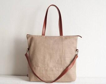 Latte Linen Handbag, Tote Bag, Shoulder Bag, Travel Bag, Line Tote Bag, Crossbody Bag, Convertible Bag, Women Bag, Women Handbag, Linen Bag
