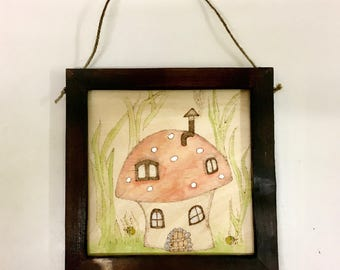 Pyrography, Fairytale, Toadstool, House, Wood, Fantasy, Home Decor, Wall Hanging, Hand painted, Rustic