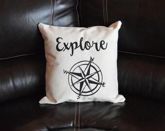 Explore Compass Decorative Throw Pillow Outdoors Cabin Decor Calligraphy Pillow