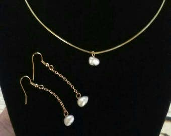 Genuine Baroque Freshwater Pearl Necklace and Earrings